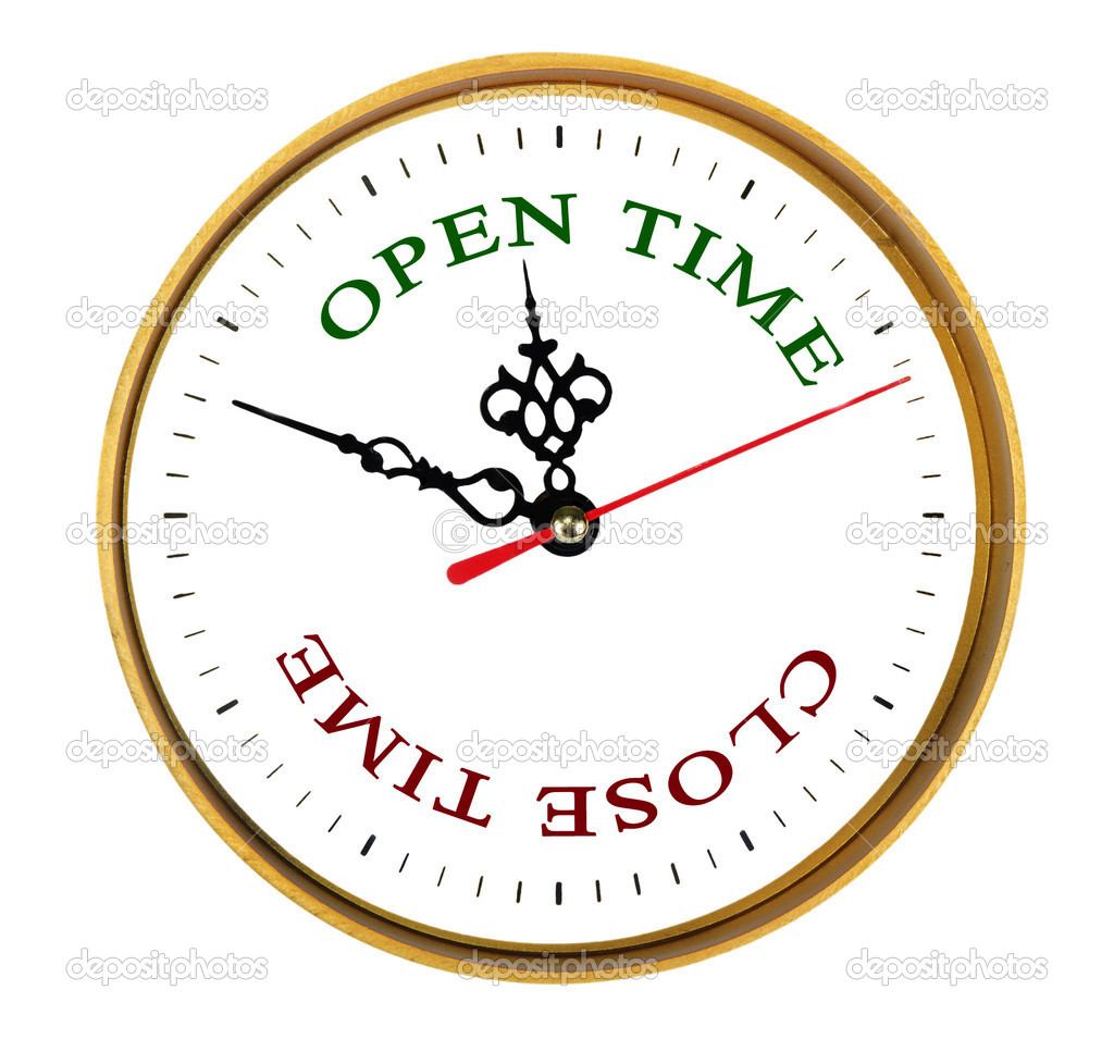 Depositphotos 7481418 clock showing open and close